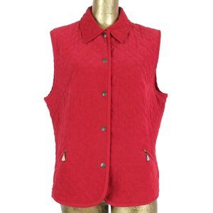 Vintage 80s Red Quilted Collared Snap Gilet Vest
